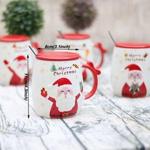 Regalo de Navidad Tazas de dibujos animados Nuevo Santa Claus Impreso Tapa Cuchara Creativa Preciosa Tazas de Porcelana Oficina Moda linda Tazas Tazas AHD2725