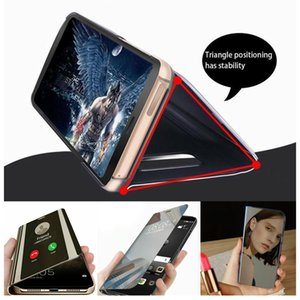 Phone Smart Leather Flip Clear View Mirror Case Cover Steady & Secure Fit For iPhone 12 Pro Max 6.7in Easy install