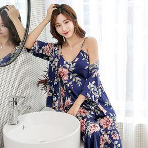 Zoolim Sonbahar kadın Pijama pantolon ile Saten Pijama Seksi Uyku Salonu Pijama Femme Çiçek Baskı Pijama 3 Parça Ev Suit1
