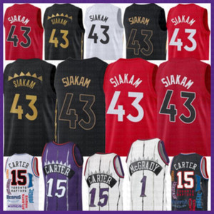 2021 новый Винс 15 Картер Баскетбол Джерси Паскаль 43 Siakam Mens Kyle 7 Lowry Mesh Retro Trace 1 McGrady Молодежные дети Marcus 21 Camby Grey
