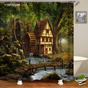 pintura al óleo baño de ducha impermeable cortina de la pintura de paisaje del paisaje forestal cabaña del bosque decoración del hogar de la cortina con gancho
