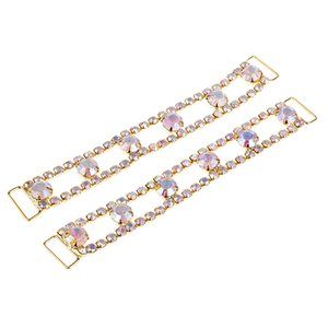 Pack of 2 Cristal Rhinestone Bikini Connector Buckle Impressionante metal Cadeia