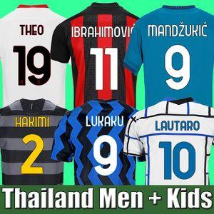20 21 AC 밀라노 축구 유니폼 2020 2021 축구 셔츠 키즈 IBRAHIMOVIC PAQUETA BENNACER REBIC ROMAGNOLI CALHANOGLU TONALI