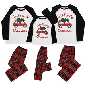 Parent-child Christmas Family Pajamas Xmas Design Matching Long Sleeve Tops and Plaid Pants Two Piece Clothing Adults Kids Outfit E110203