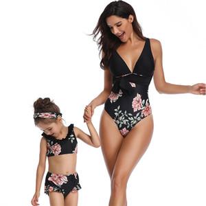 Anne Bebek Kız Yüzme Kadınlar Ayrı Bikini Moda Çiçek Sigortalı Çocuk Yüzmek Suit Çocuk Aile Eşleştirme Giysi Seksi