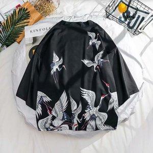 ZAZOMDE Summer Mens Kimono Jacket Plus Size Cardigan Patterns Open Stitch Fish Crane pattern Harajuku Men Clothing Set Y1209