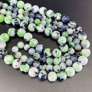 1 Strand Lot 6 8 10 Mm Natural Stone Green Flame Agates Bead Round Loose Spacer Beads For Jewelry Making Findings Diy H bbyTrJ