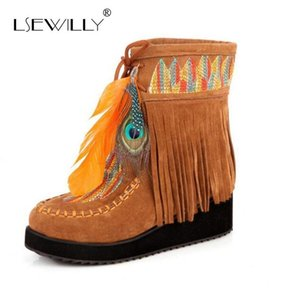 Lsewilly Indian Style Retro Fringe Boots Flock Chunky Feather Women Ankle Short Boots Tassels Big Size Shoes Size 34-43 AA555 Y200915