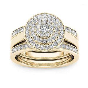 Luxury Crystal Female Big Zircon Stone Ring Set Fashion Bridal Wedding Rings For Women Promise Love Engagement Ring1