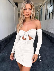 Bandage Dress Summer Designer Hollow Out Bow Slash Neck Strapless Solid Color Dresses Females Casual Clothes Womens Sexy Pleated