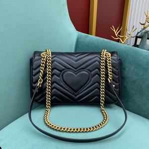Женская кожаная сумка Gu Качество Borsa Высокая цепь Кошелек в форме черного настоящего плеча Стеганые сумки Gold Crossbody Marmont Hord Mngib
