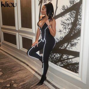 Kliou 여성 섹시 민소매 jumpsuit 반사 스트라이프 패치 워크 Turtleneck 탄성 스키니 rompers 백리스 긴 bodysuit y200106