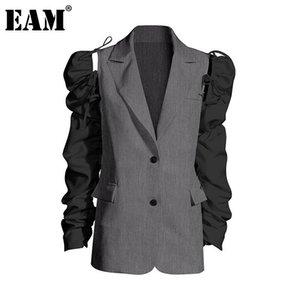 [EAM] Kadınlar Grey Pileli Mizaç Blazer Yeni Yaka Puff Uzun Kollu Gevşek Fit Ceket Moda Tide İlkbahar Sonbahar 2020 1Z598