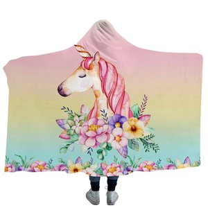 Dhl Send Unicorn Blankets Hooded Cloak Throw Blanket Thicken 3d Printed Fleece Flamigo Fashion Colorful Unique Children Adults Home