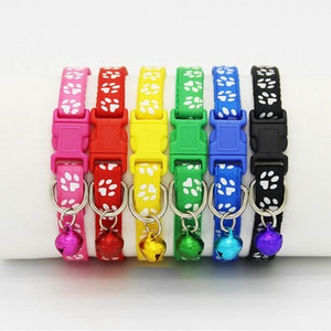 Dog Puppy Cat Collar Breakaway Adjustable Cats Collars with Bell and Bling Paw Charm width 1.0cm WY1077