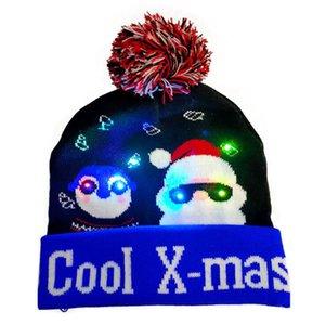 Bonnet de Noël à LED Bonnet tricoté Bonnet tricoté Christmas Christmas Light Up Since Chapeau Noël Noël Noël 2021 Nouvel An DHA2694