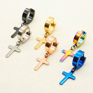 Free Cross Ear Clasp Fashionable Titanium Punk Ear Studs Stainless Steel Earrings Wholesale ps1565
