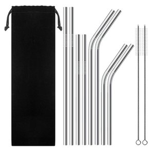 New Stainless Steel Straw And Brush Reusable Bend And Straight Metal 10 .5 And 8 .5 Inch Extra Long Stainless Steel Straw Drinking Straws Dh