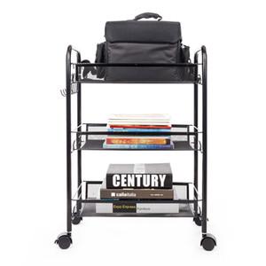 WACO 3-Tier Rolling Utility Cart Storage Shelves Multifunction, Metal Mesh Baskets, Pantry Cart with Lockable Wheels, Black