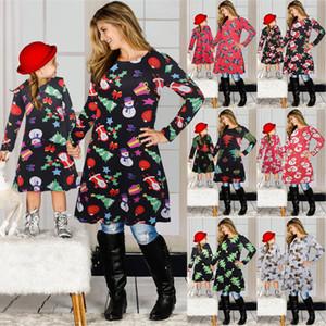 Navidad de la familia ropa a juego hija de la madre navidad Matching vestidos de manga larga falda de Navidad Imprimir padres e hijos de vestir Trajes FFA4506