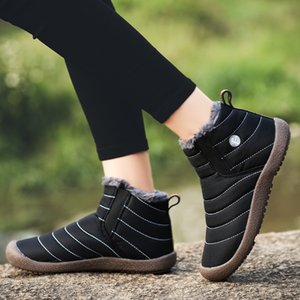 Waterproof Snow Boots For Women Winter Warm Fur Couple Shoes Men Anti-Slip Plush Ankle Boots Unisex Big Size Slip On Flat Shoes 201104