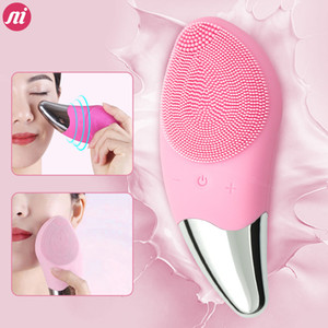 Ultrasonic Vibration Facial Cleansing Brush Electric Silicone Sonic Facial Cleanser Mini Massager For Face Cleansing Wash Brush
