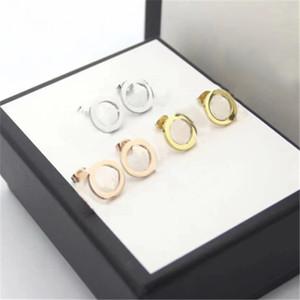 Moda Diamond Hoop Stud Orecchini Aretes Orecchini per Lady Donne Party Wedding Lovers regalo di fidanzamento gioielli per la sposa con scatola oro