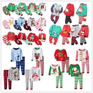 27Styles Noël Pyjamas d'enfants Ensemble Survêtement deux pièces Tenues Père Noël Elk rayé Noël costumes pyjamas Ensembles bébé Accueil Vêtements E92705