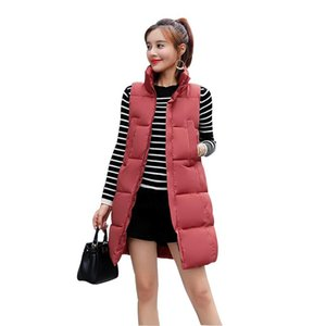 Rlyaeiz Fashion Women Vests Waistcoat 2020 Autumn Winter Cotton-padded Stand Collar Vest Female Mid-long Sleeveless Jackets
