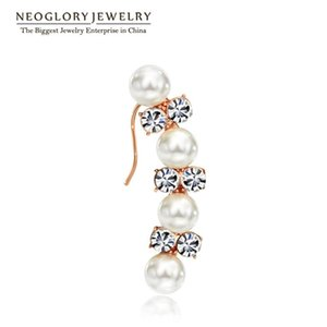 Dangle & Chandelier Neoglory Simulated Pearl Austrian Rhinestone Rose Gold Color Drop Earring For Women Fashion Jewelry 2021 Gift EA1
