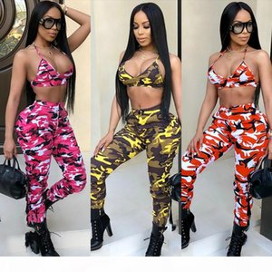 Women's Sexy Camo Print Bra and Pant Suits Halter Crop Top and Long Pencil Pant Button Zipper Pockets Sports Tracksuit Club 2Pc Pant Se