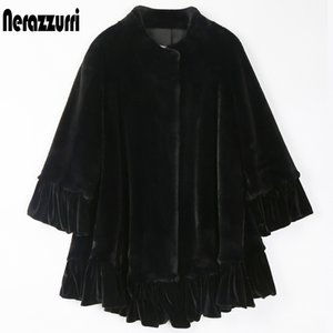 Nerazzurri 블랙 벨벳 패치 워크 가짜 모피 자켓 여성 스탠드 칼라 느슨한 따뜻한 부드러운 겨울 옷 여성 플러스 사이즈 패션 201031