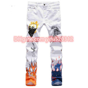 21ss New Wholesale-mens jeans high quality blue black color straight ripped jeans for men fashion biker jeans button pants Size 28-38