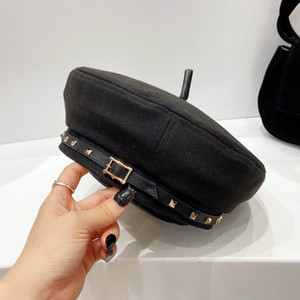 cool girl berets rivet top hat black lady cap spring autumn winter accessories Christmas present trendy items avant-garde fashion cap type