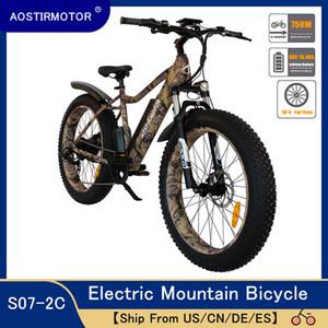 AOSTIRMOTOR Elektrikli Bisiklet Fat Tire Elektrikli Dağ Bisiklet Sahili Bisiklet Cruiser Bisiklet Booster Ebike 750W 48V 10.4Ah Pil