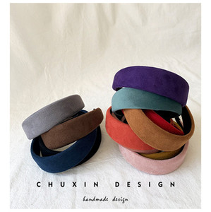 NEW Women Girls Chunky Sponge Hair Band Hoops Suede Fabric Headband Hair Wraps Trendy Fashion Ladies Casual Party hair jewelry Gifts LY10203