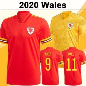 2020 Allen Ramsey Mens Soccer Jerseys Gales Nueva Equipo Nacional Bale Wilson Inicio Rojo Alejado Camisa de fútbol amarillo Manga corta Uniformes adultos