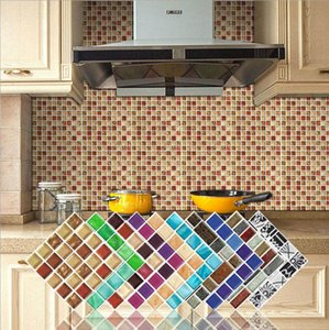 Self adhesive wallpaper mosaic tile paste 3D wall sticker background wall paper living room kitchen waterproof paste