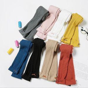 Kızlar Sonbahar Kış Tayt Tayt Yay Çocuk Örme Çorap Sıska Ince Pantolon Sıcak Bebek Katı Şeker Renk Sıkı Külotlu Deniz GWC5000