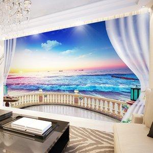 Custom Wallpaper For Walls 3D Balcony Window Beach Seascape Photography Background Photo Mural Living Room Bedroom