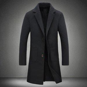 Autumn And Winter Fashion Solid Color Casual Men Long Woolen Windbreaker Coat   Mens Business Casual Woolen Coat Male Jackets