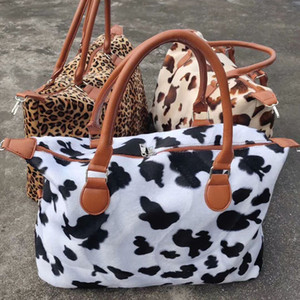 Christmas Leopard Cow print Handbags 2021 fashion beach bag plush Tote bag Mummy children Bags 43*33*19CM Z0335