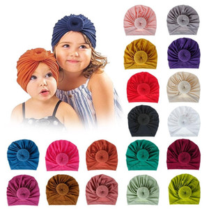 INS 18 Colors New Fashion Donut headbands Elastic Cotton Solid Colors Hair accessories Beanie Cap Multi color Baby Mother Family Hats