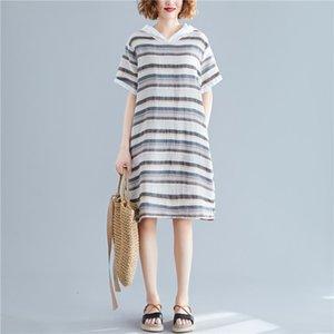 Robe d'été féminine, cavalier à capuche rayé vêtus de manches courtes, longueur du genou coton et de lin divisé H0013