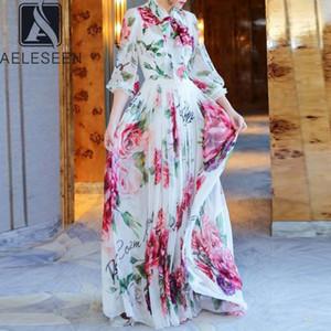 Aeleseen Uzun Şifon Elbise 2020 İlkbahar Yaz Kadın Uzun Kollu Kırmızı Çiçek Baskı Yay Tatil Partisi Maxi Müslüman Artı Boyutu Dress1