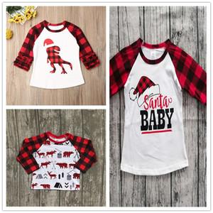 70-110cm Children Christmas Clothing Kids T-shirt Tops Baby Girls Plaid Long Sleeve T Shirt Xmas Red Grid Dinosaur Print Tshirt E102906