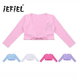 iEFiEL Tutù Body per ragazze bambini manica lunga classico frontale Knot cotone Wrap Top Ballet Costumi Dancewear Cardigan