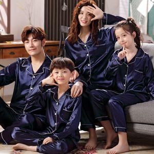 Pajamas Silk Satin Adult Women Kids Family Matching Clothes Children Female Sleep Two Piece Set Loungewear Plus