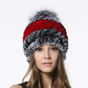 2017 New Hot Sale Knitted Fur Caps For Female Fur With Silver Ball Hats Womens Winter Real Beanies LX00951 X9cL#