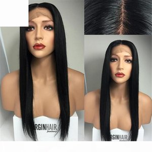 Afro-américain Stright Naturel Naturel Noir 24inch 26inch Long Long Goldess Brésilien Cheveux de dentelle Perruque de cheveux humains pour femmes noires